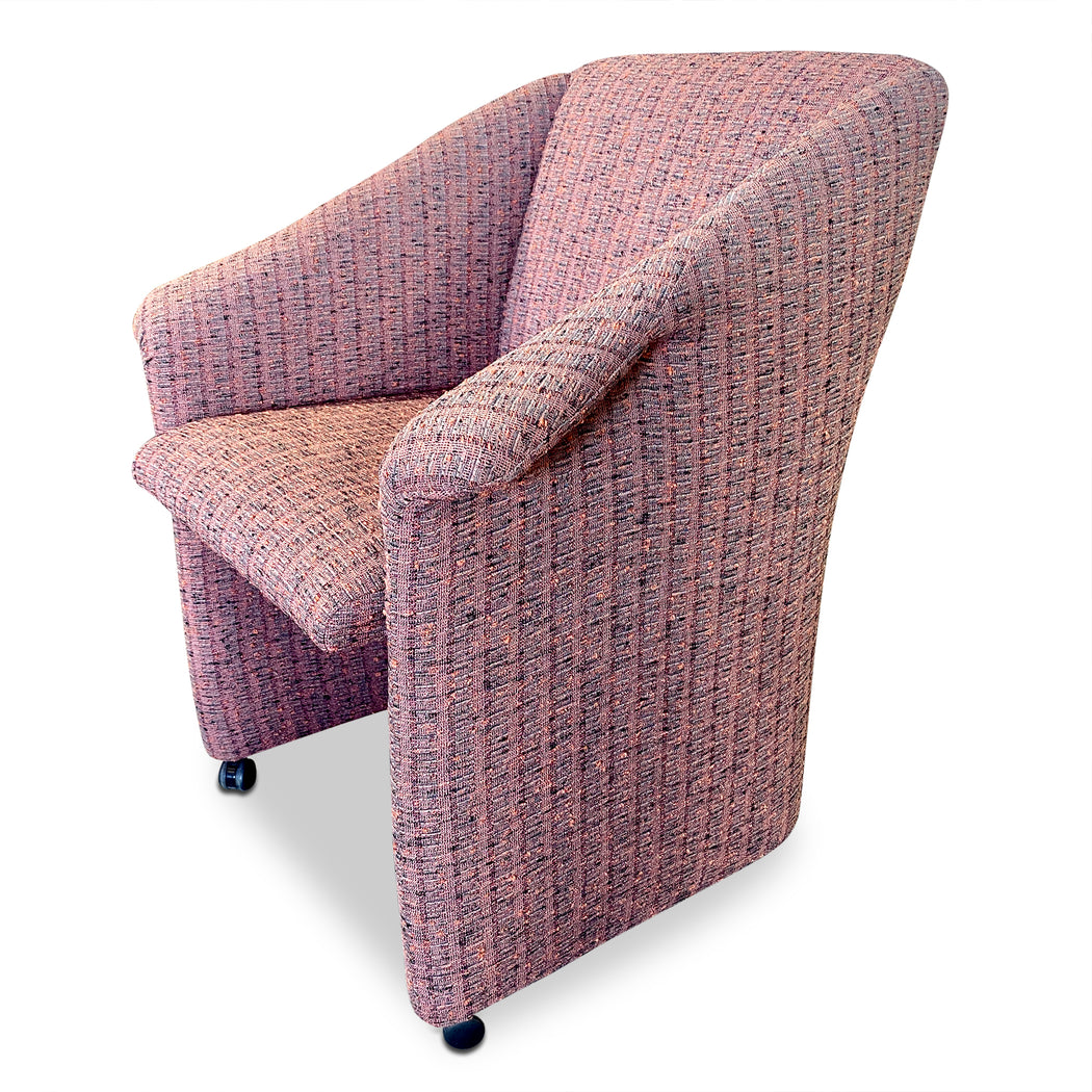 Purple Upholstered Dining/Desk Chair on Casters