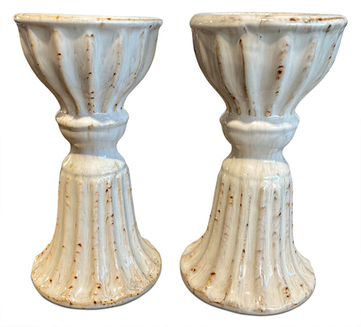Pair of Ceramic Pedestal Candle Holders