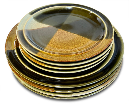 Set of 8 Brown and Green Ceramic Plates