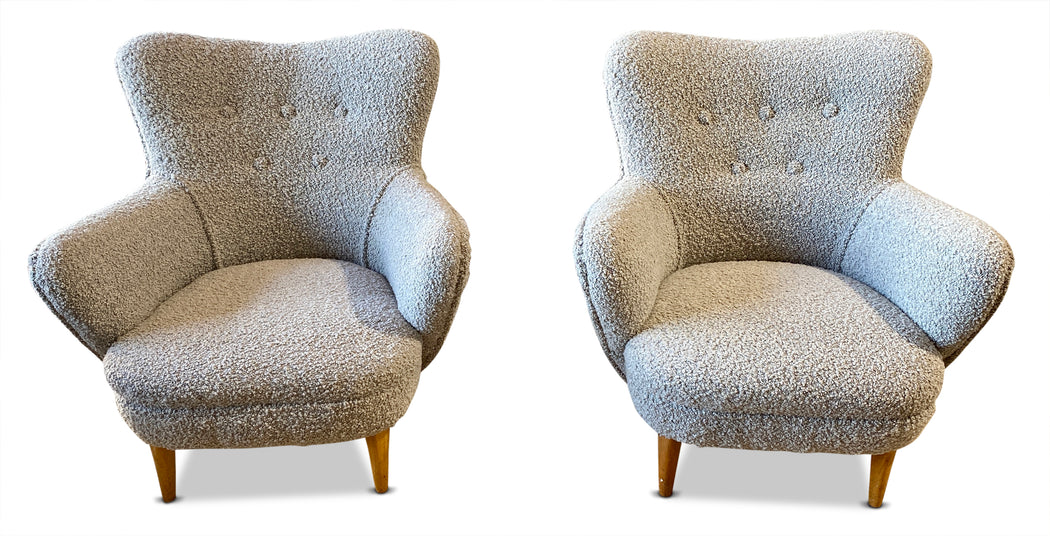 Pair of Boucle Wingback Chairs