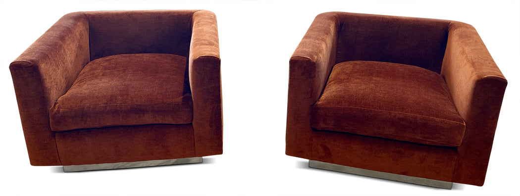 Pair of Rust Velvet Rounded Arm Chairs