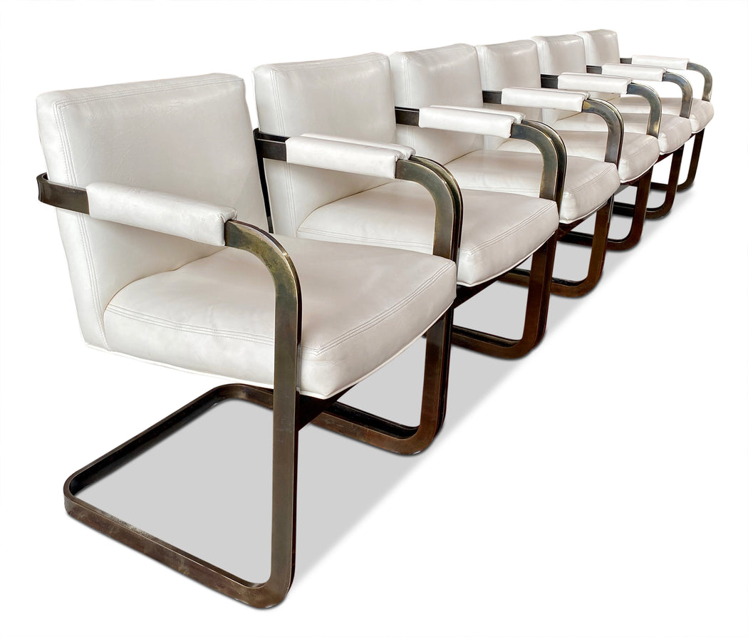 Set of 6 White Cantilever Dining Chairs