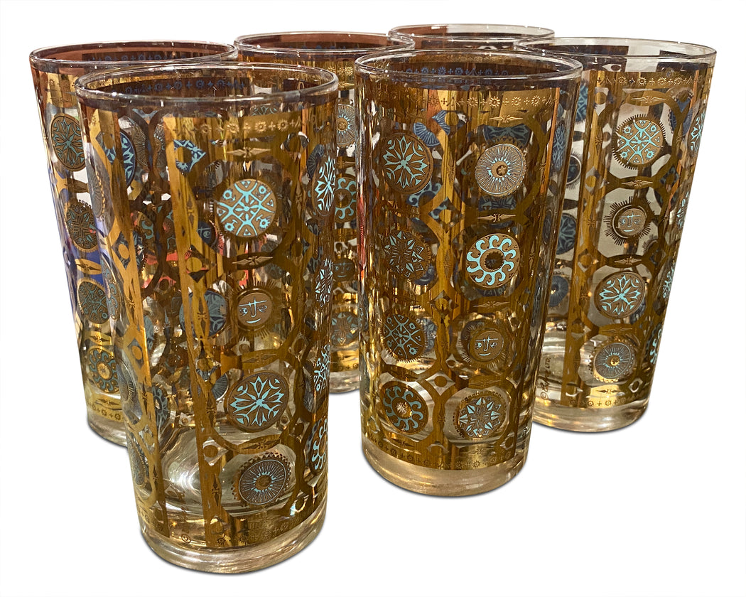 Set of 6 Blue and Gold Highball Glasses