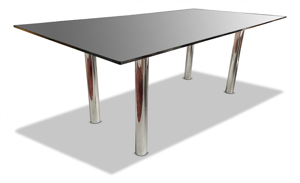 Chrome + Smoked Glass Dining Table