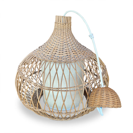 Domed Wicker Pendant Lamp