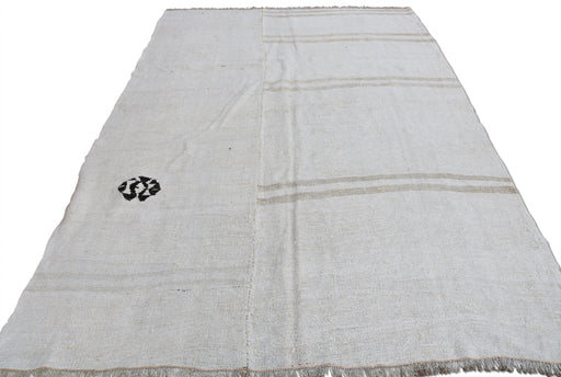 Tan Hemp Rug with Black Logo
