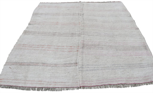 Tan Hemp Rug with Pink and Grey Stripes