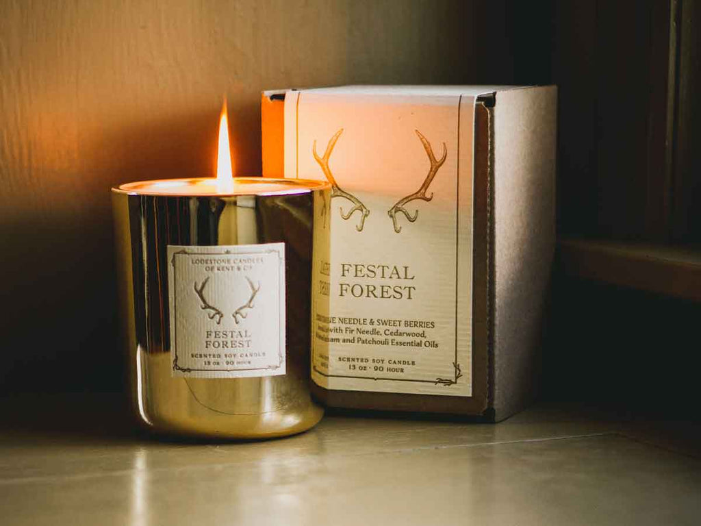 Festal Forest | 13 oz., 90 hour | Gold Glass - Lodestone Candles of Kent & Co.