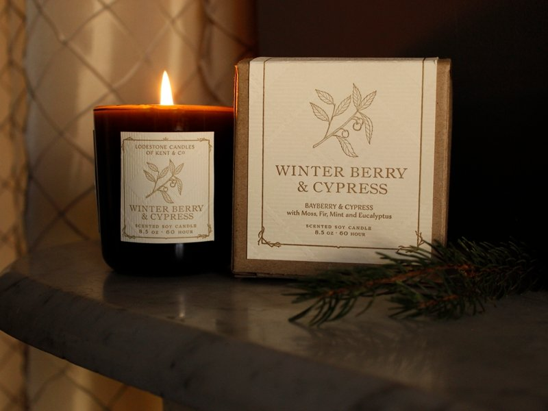 Winter Berry & Cypress | 8.5 oz, 60 hr | Vintage Green - Lodestone Candles of Kent & Co.
