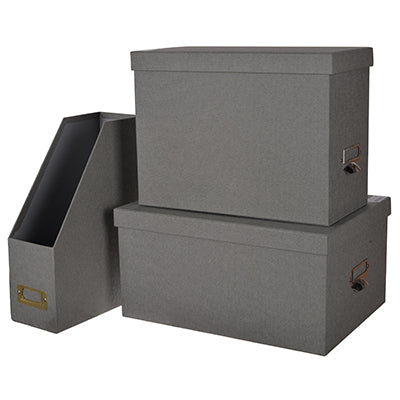 S/3 Ismay Office Storage Boxes and File Gray