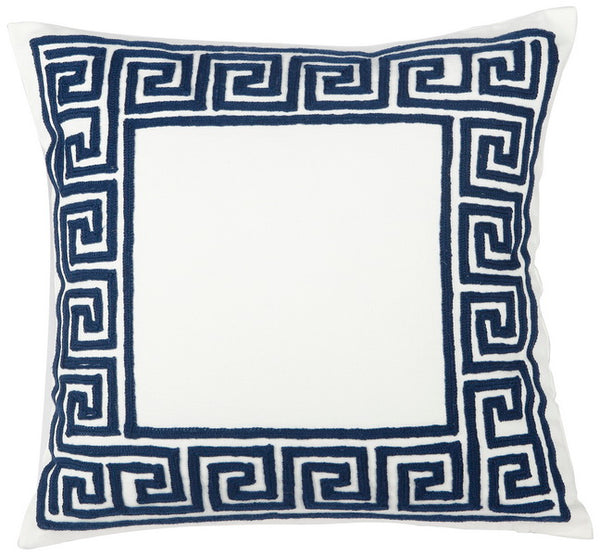 Embroidered Cotton Throw Pillow; Navy