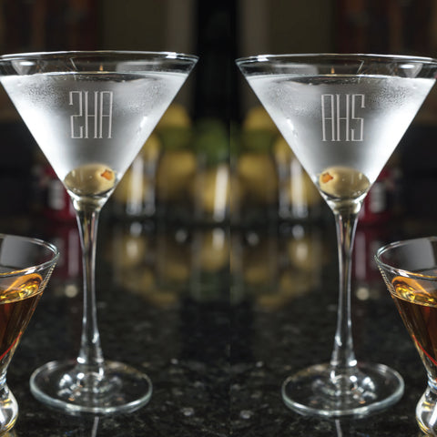 Engraved Martini glasses