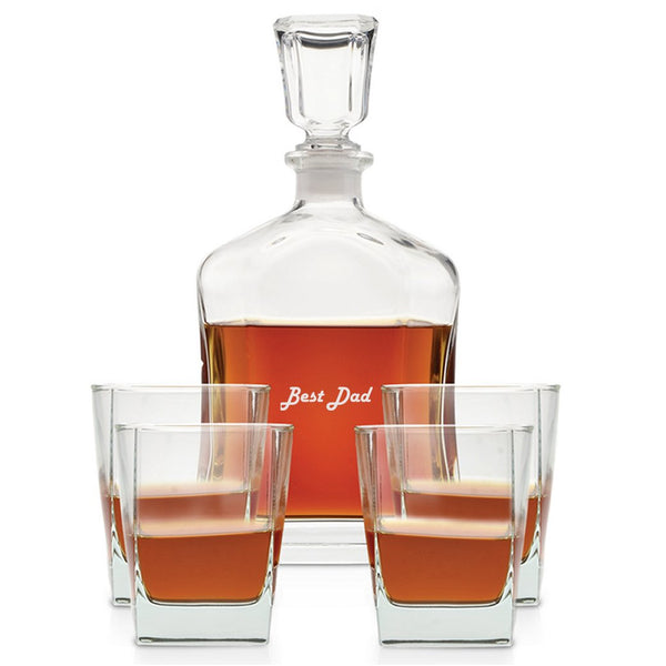 Engraved whiskey decanter and set of 4 blank rocks glasses