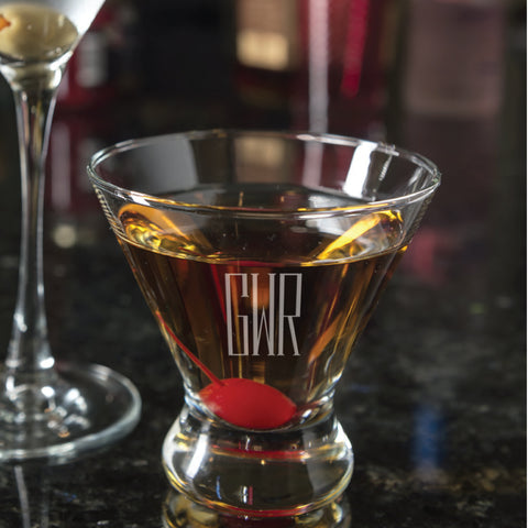 stemless martini glasses with engraved monogram