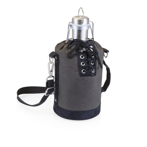 Stainless Steel Beer Growler with Grey and Black Tote 64 oz.