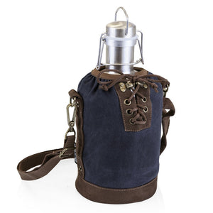 Stainless Steel Beer Growler with Navy and Brown Tote 64 oz.