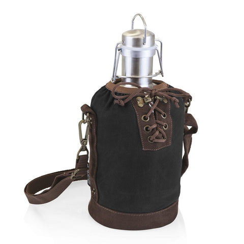 Stainless Steel Beer Growler with Black and Brown Tote 64 oz.