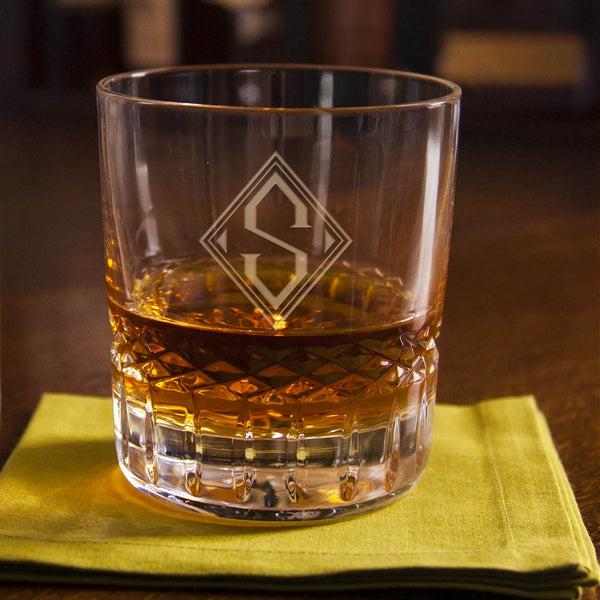 Engraved Full Lead Crystal Rocks Glass - personalized with your monogram or text