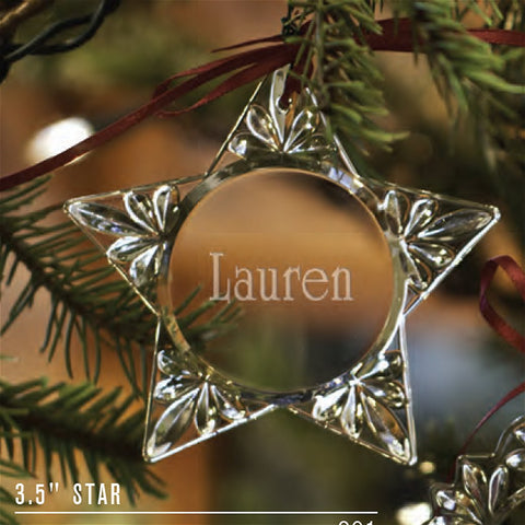 Engraved Crystal Star Ornament