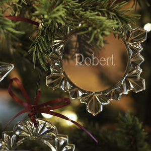 Engraved Crystal Snowflake Ornament