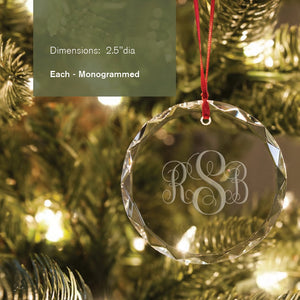 Round crystal ornament suncatcher with engraved monogram