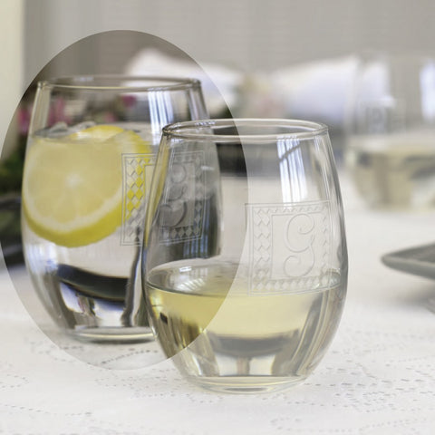 Trendy Stemless Personalized Wine Glasses Set 21 oz.