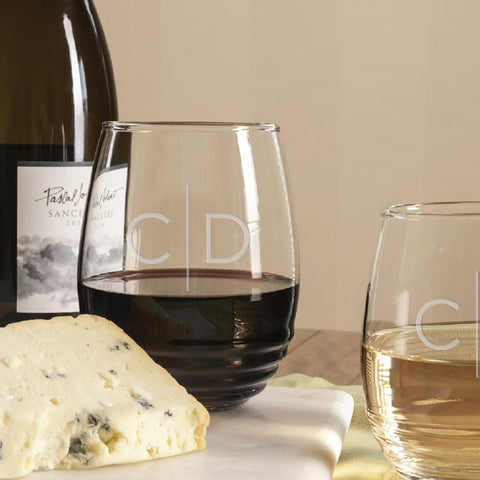 Engraved Stemless wine glasses with your monogram initials