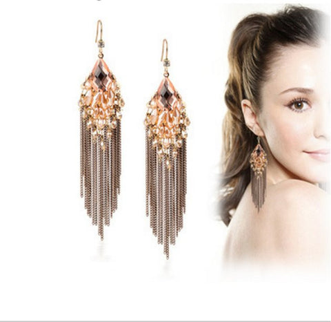 Fashion Dangle Earrings with Long Tassels and Rhinestones