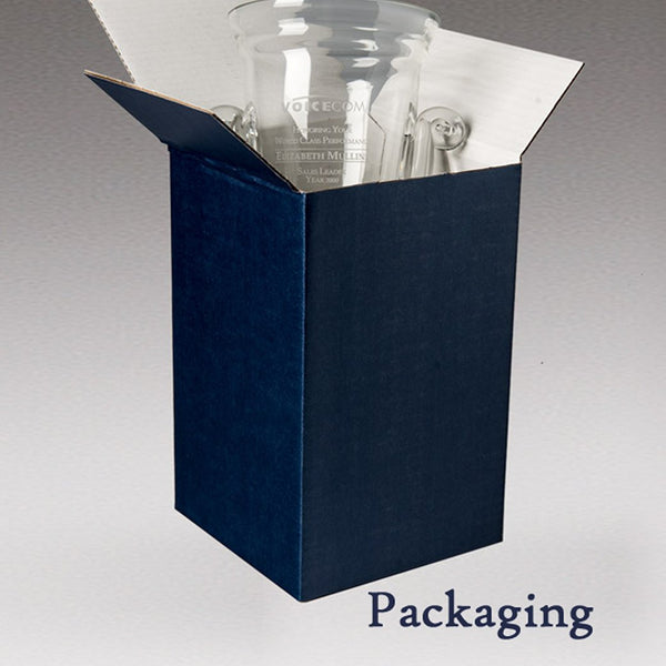 Packaging for Engraved Champagne Bucket - Corrugated Blue Box