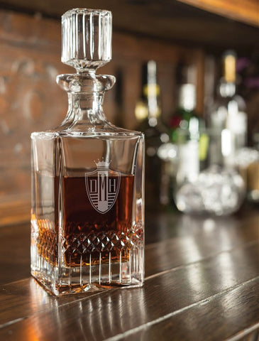 Engraved Full Lead Crystal Whiskey Decanter