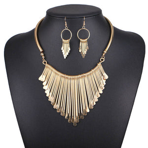 Vintage Metal Tassel Jewelry - Necklace and Matching Earrings