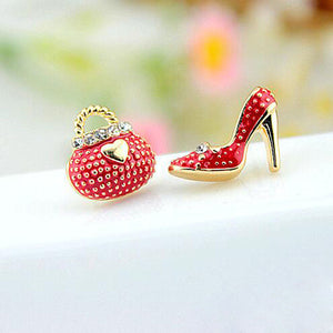 High Heel Shoe and Matching Fashion Bag Earrings