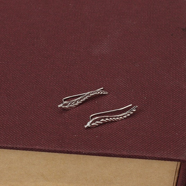 Feather Stud Earrings in Silver Plated or Gold Color