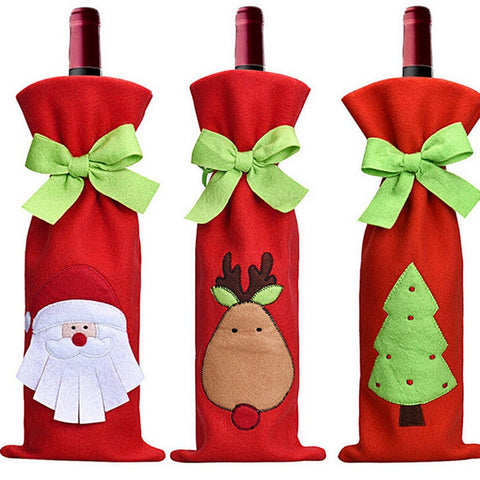 Christmas Red Cloth Wine Bags - Santa, Reindeer or Tree