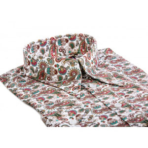 Red & Teal Paisley Long Pointed B/D SGL Cuff Shirt