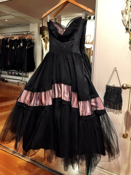1940's Vintage Couture Taffeta Gown