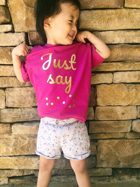 """Just Say Hey"" Youth Pink & Gold"