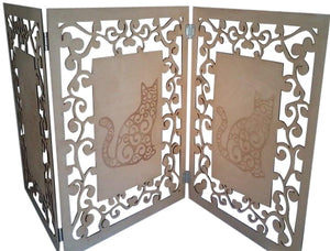 Catitions Artistic Cat Privacy Screen- Natural Wood
