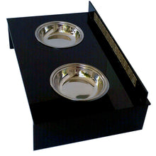 Pet Feeders - Gáta Elevated Feeder For Cats And Small Dogs- Black Acrylic and Gold