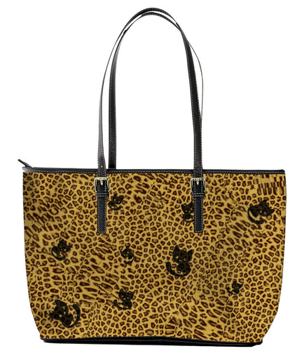 Bag - Black Cat Animal Print - Leopard Print Leather Tote Bag (Large) - Black