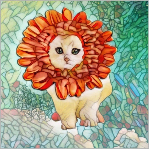 Cat Art Poster - Canvas Poster- Flower Kitten Art Nouveau