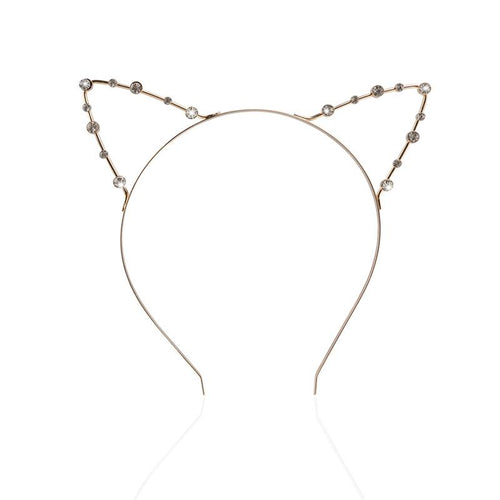 Cat Headband - Cat Ears Rhinestone Headband