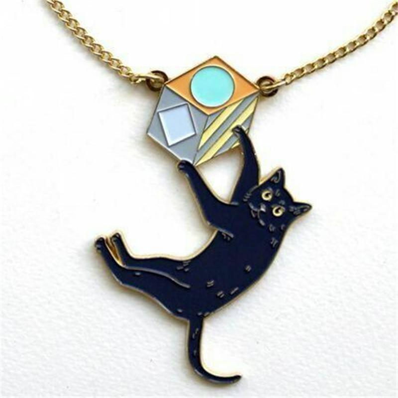 Cat Necklace - Black Cat Pendant Necklace
