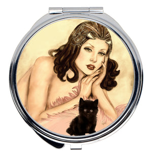 Compact Mirror - Compact Mirror-Designer Edition Burlesque Pin-up Queen Black Kitten