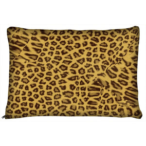 Dog Pillow Bed - Leopard Print Indoor Fleece Dog Bed- Animal Print
