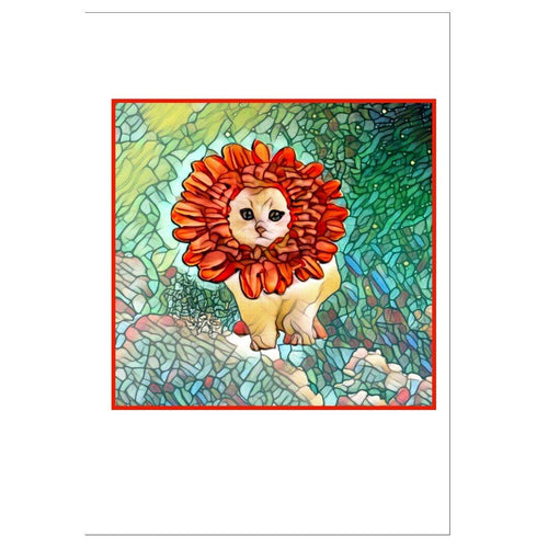 Greeting Cards - 10-pack Folded Greeting Cards-All Occasions-Flower Kitten Design