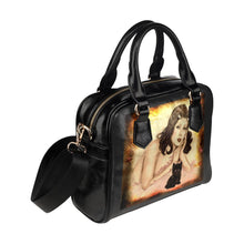 Handbags - Designer Handbag With Shoulder Strap-Burlesque Pin-up Queen And Black Kitten Artwork
