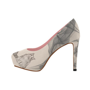 High Heels - Designer Edition Women's High Heel Pink Shoes With Cat And Chiffon Art