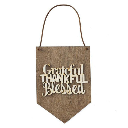 Home & Garden - Grateful Thankful Wood Sign Banner