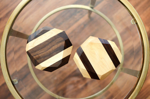 Kitchen - Chiseled Wood Geometric Coasters (Set Of 4)